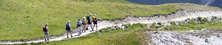 hikers among mountains