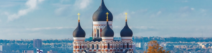 Eastern Orthodox Church above city