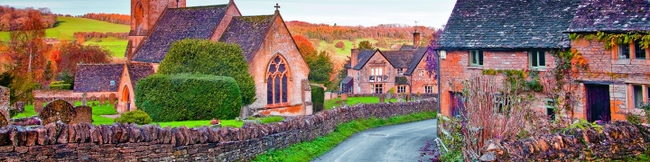 english village with brick houses