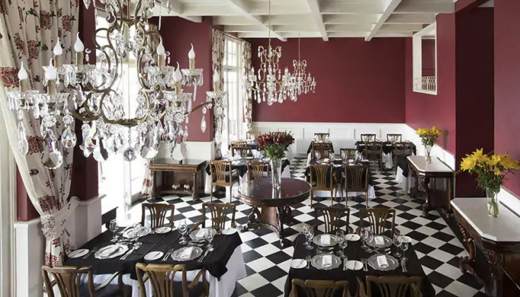 hotel dining area with black and white checkered floor