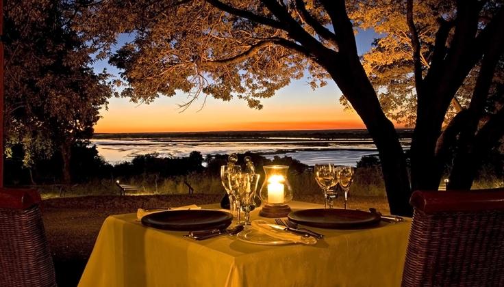 chobe chilwero lodge at sunset