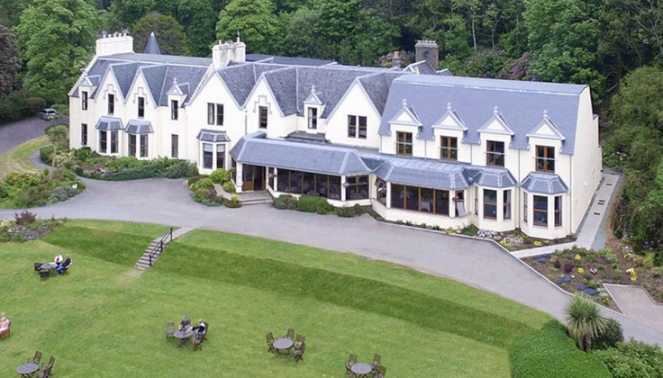 Cuillin Hills hotel exterior from aerial vantage point