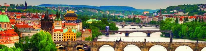 Czech Rep, Prague, Bridges over River Vltava
