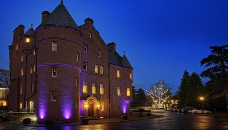 Fonab Castle Hotel Spa exterior at night