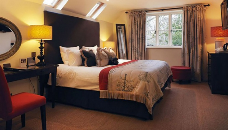 a hotel bedroom with skylights
