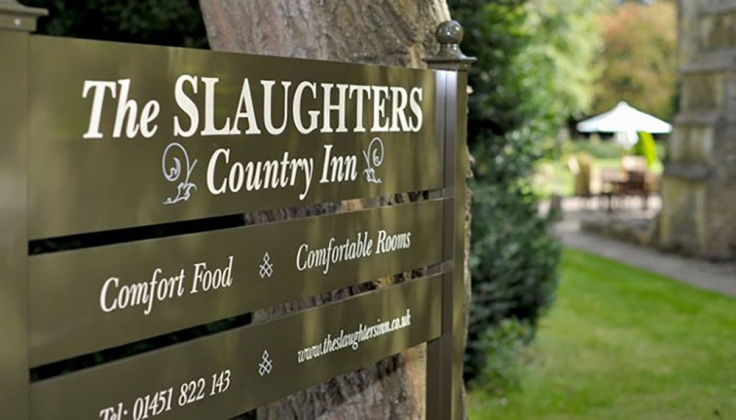 Slaughters Country Inn exterior welcome sign